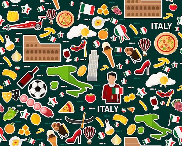 Vector plat naadloos textuurpatroon italië
