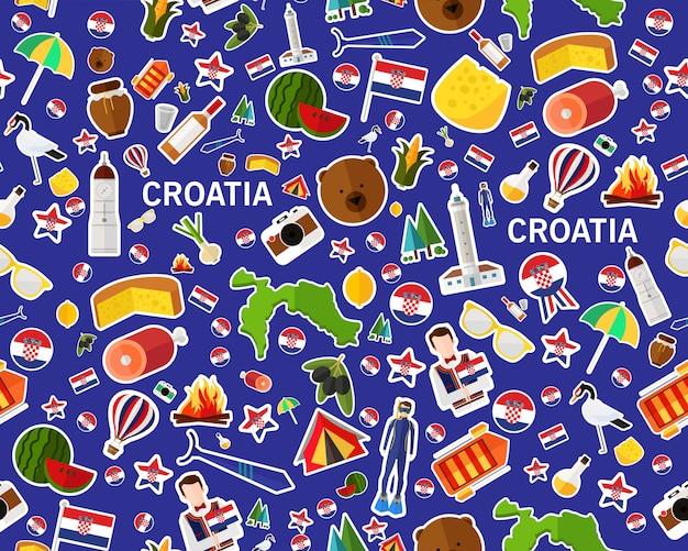 Vector plat naadloos textuurpatroon kroatië