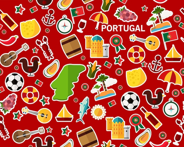 Vector plat naadloos textuurpatroon portugal