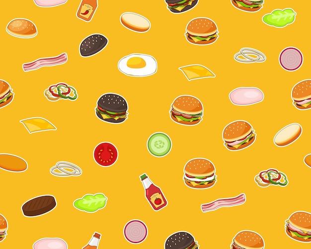 Vector plat naadloze structuurpatroon hamburgers.