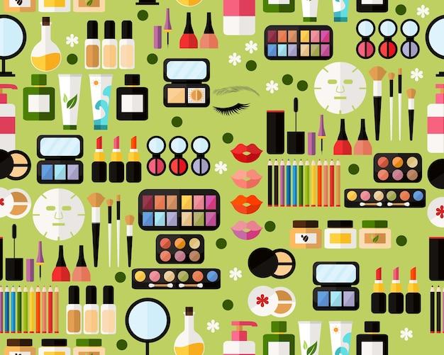 Vector plat naadloze structuurpatroon make-up accessoires.