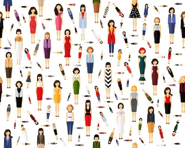 Vector plat naadloze textuur patroon avatars van vrouw.