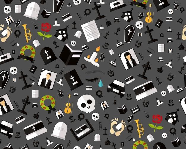 Vector plat naadloze textuur patroon begrafenis.