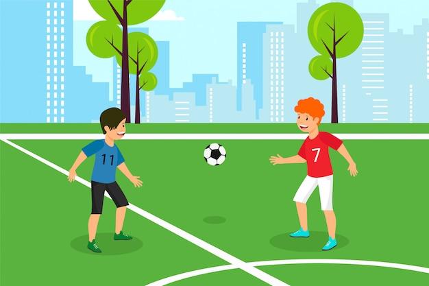 Vector plat rood tegen blauwe kinderen voetbalteam.