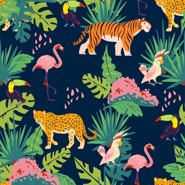 Vector plat tropisch naadloos patroon met hand getrokken jungle planten en elementen, dieren, vogels geïsoleerd. toekan, flamingo, tijger. voor verpakkingspapier, kaarten, behang, cadeaulabels, kinderkamerdecoratie enz.