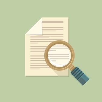 Vector plat vergrootglas en papieren document