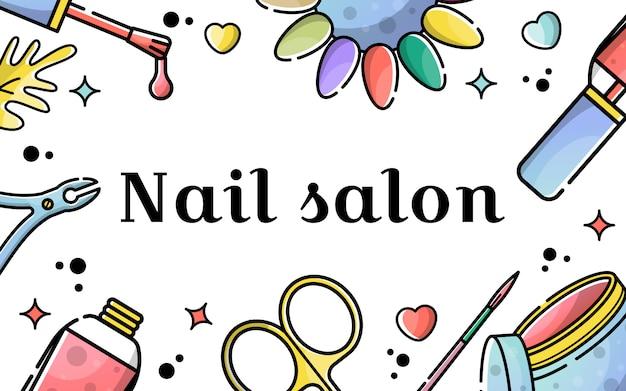 Vector platte achtergrond voor nagel salon