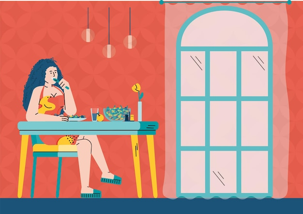 Vector platte cartoon afbeelding van meisje besteedt vrije tijd in restaurant of café