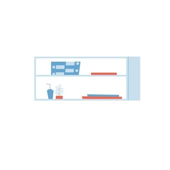 Vector platte cartoon plank met verschillende boeken, huis plant en spullen geïsoleerd op lege achtergrond-meubels en interieur elementen concept, website banner advertentie ontwerp