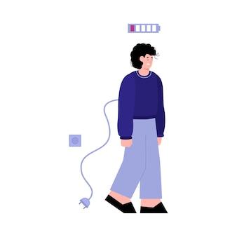 Vector platte geïsoleerde illustratie van een vermoeide stekker uit stopcontact trieste jonge man
