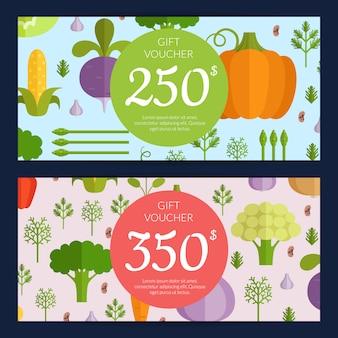 Vector platte groenten veganistisch winkelen voucher sjablonen. sjablonen voor illustratiesjablonen