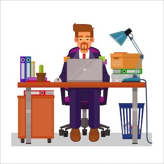 Vector platte illustratie van een man die aan de computer werkt