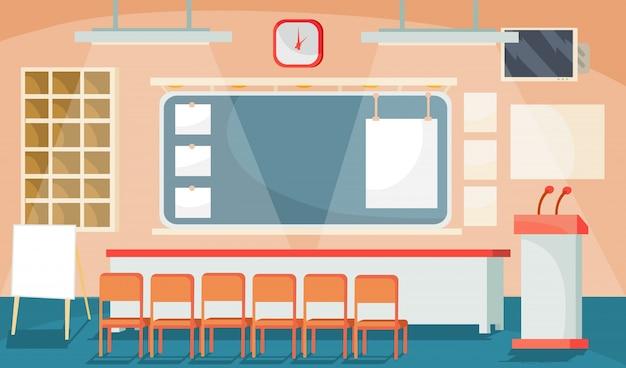 Vector platte illustratie van een zakelijk interieur - conferentie, vergaderzaal, kamer voor presentaties