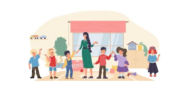 Vector platte jongen stripfiguren en leraar gelukkig begroeten elkaar in de kleuterschool - verschillende poses, voorschoolse educatie, sociale communicatie en vriendschap concept