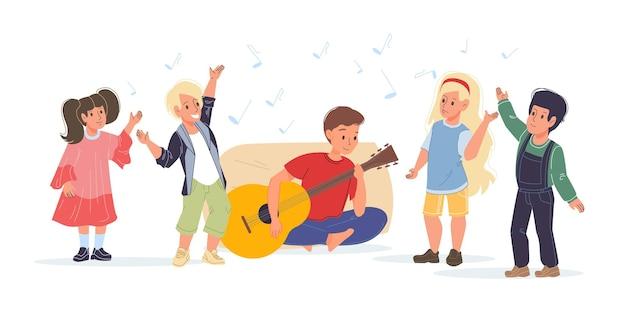 Vector platte jongen stripfiguren gelukkig luisteren naar gitaarmuziek en dansen - verschillende poses, sociale communicatie, vriendschap concept