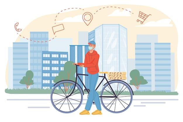 Vector platte karakter-bezorger op de fiets die pizza levert aan de klant in een pandemie van virale infectie