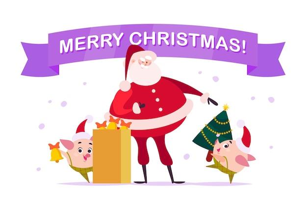 Vector platte merry christmas illustratie met santa claus, hartje elf met bell, dragen versierde nieuwjaar fir tree, xmas vakantie felicitatie geïsoleerd op een witte achtergrond. advertentie in webbanner