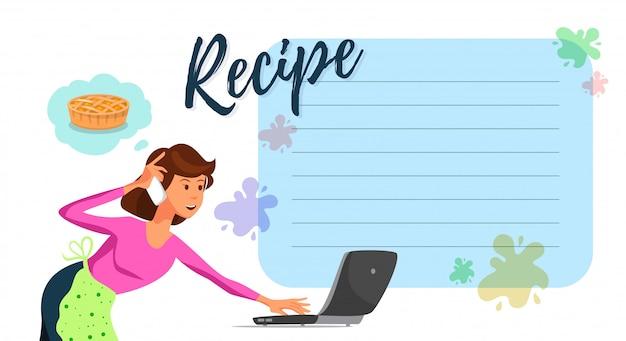 Vector platte moeder kijken naar cake recept op laptop.