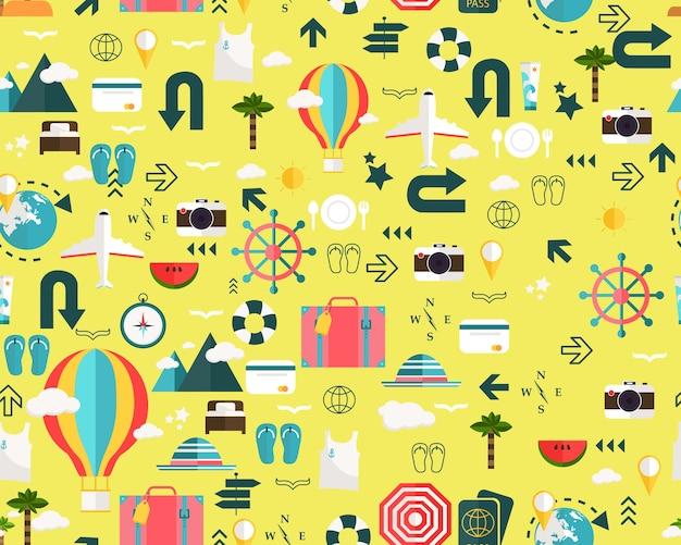 Vector platte naadloze textuur patroon vakantie vakantie reizen