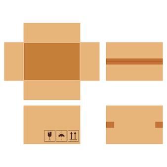 Vector platte ontwerp cartoon stijl illustratie kartonnen percelen set met verpakking zingt geplakt met tape geïsoleerd op een witte achtergrond.