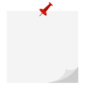 Vector platte ontwerp icoon van lege witboek sticker vastgemaakt rode drukknop gekrulde hoek geïsoleerd op een witte achtergrond.