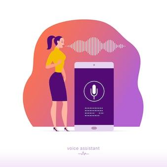Vector platte persoonlijke online assistent illustratie. office meisje met smartphone microfoon dynamisch pictogram, geluidsgolven. ui, ux, mobiele app, websiteconcept voor ontwerp van bestemmingspagina's voor spraakherkenning.