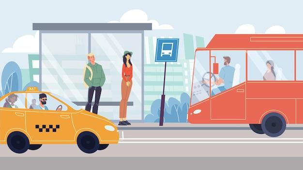 Vector platte stripfiguren in de scène van het stadsleven. verschillende mensen op de locatie van de weg - ze staan bij de bushalte, gaan met de taxi en met de bus. web online bannerontwerp, levensscène, sociaal verhaalconcept