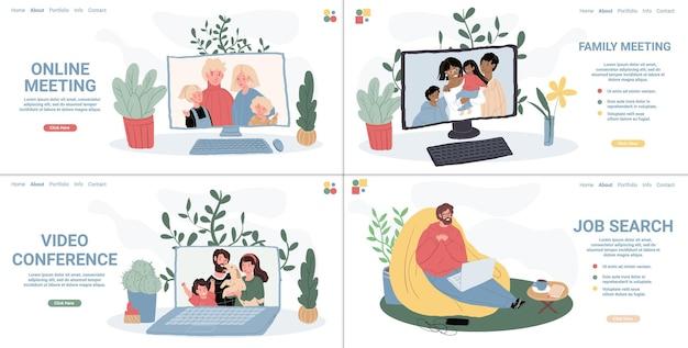Vector platte stripfiguren met behulp van online video messenger conferentie communicatie op laptops. gelukkige mensen praten met vrienden en familieleden, op zoek naar werk met behulp van web. set van bestemmingspagina-ontwerp