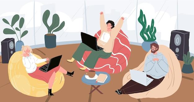 Vector platte stripfiguren op home party zitten in zitzakken in een gezellige sfeer. jonge mensen hangen, verheugen, genieten, praten met behulp van laptops binnenshuis-emoties en vriendschap sociaal concept