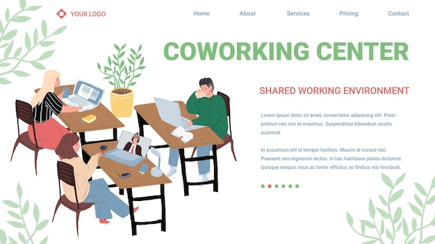 Vector platte stripfiguren voert werktaken uit. succesvolle werknemers zakelijke freelancers bij werkproces-coworking center, professioneel werkstroomproces, website bestemmingspagina concept
