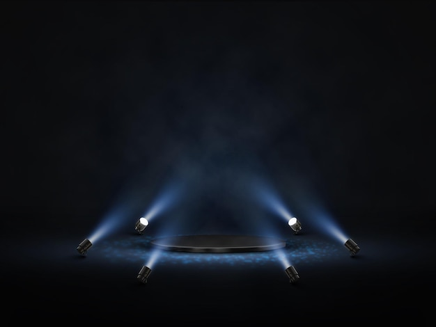 Vector podium met verlichting. podium, podium, scène voor prijsuitreiking met schijnwerpers.