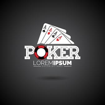 Vector poker logo design template met gokelementen.casino illustratie met aas set speelkaarten op donkere achtergrond