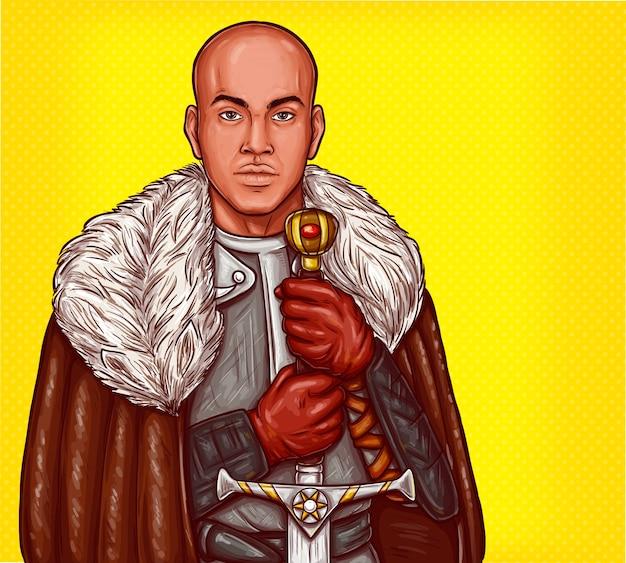 Vector pop art illustratie van een middeleeuwse ridder in stalen pantser met een ijzeren zwaard