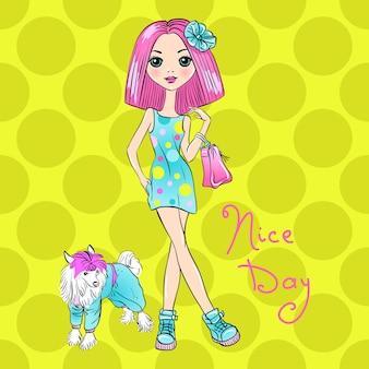 Vector popart schattig mode meisje met hond