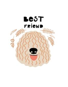 Vector portret van komondor cartoon afbeelding met hond en tekst beste vriend