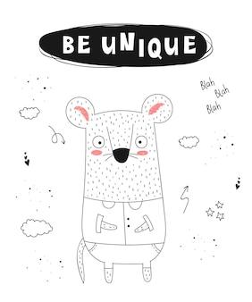 Vector poster met cartoon grappige dieren en hipster slogan hand getrokken grafische dierentuin