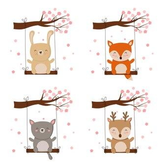 Vector poster met cartoon schattige dieren en lente slogan