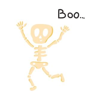 Vector poster met een grappig skelet en de inscriptie boo... in een vlakke stijl op een witte achtergrond