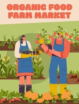 Vector poster van biologisch voedsel bij farm market concept