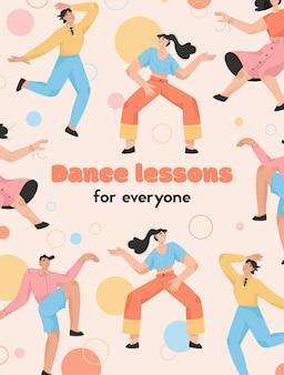 Vector poster van danslessen voor iedereen concept