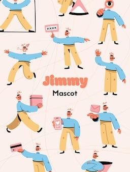 Vector poster van jimmy mascotte ontwerpconcept