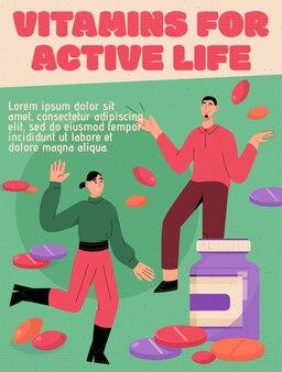 Vector poster van vitamines voor actief leven concept