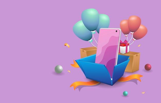 Vector premium illustration een geschenkdoos opent met een smartphone erin
