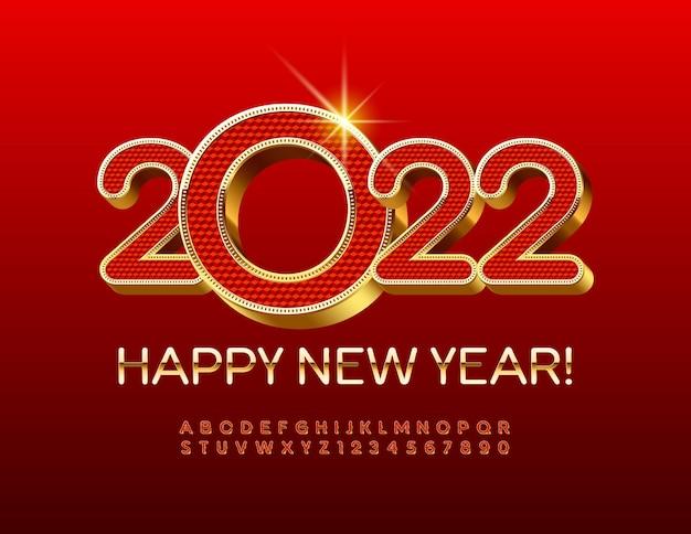 Vector premium wenskaart happy new year 2022 goud en rood getextureerde lettertype 3d luxe alfabet