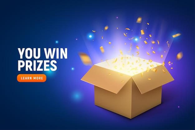 Vector prijs geschenk doos confetti explosie achtergrond. open box winnaar beloning.