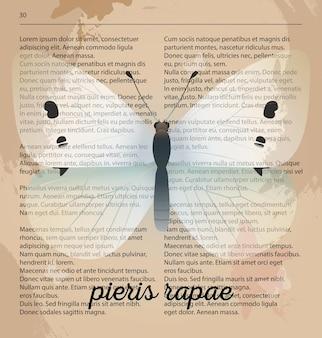 Vector print witte vlinder pieris rapae. afdrukbare kunst puttend uit oude woordenboekpagina.