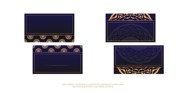 Vector ready-to-print blauwe kleur visitekaartje ontwerp met luxe patronen. sjabloon voor visitekaartjes met plaats voor uw tekst en vintage ornamenten.