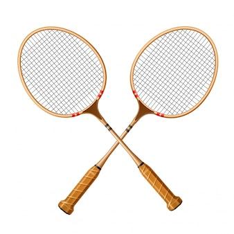 Vector realistisch gekruist racket 3d pictogram voor sport
