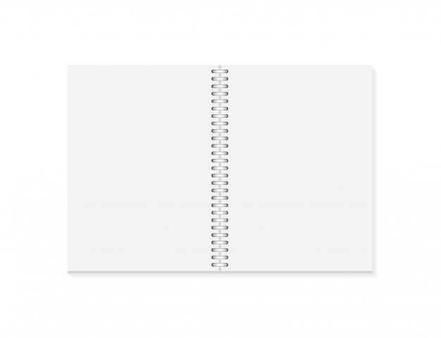 Vector realistisch geopend notitieblok. verticaal leeg voorbeeldenboek met metaal zilveren spiraal