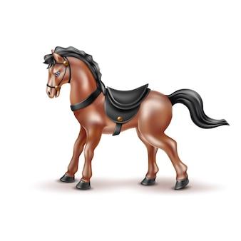 Vector realistisch paard speelgoed, pop met zwart zadel
